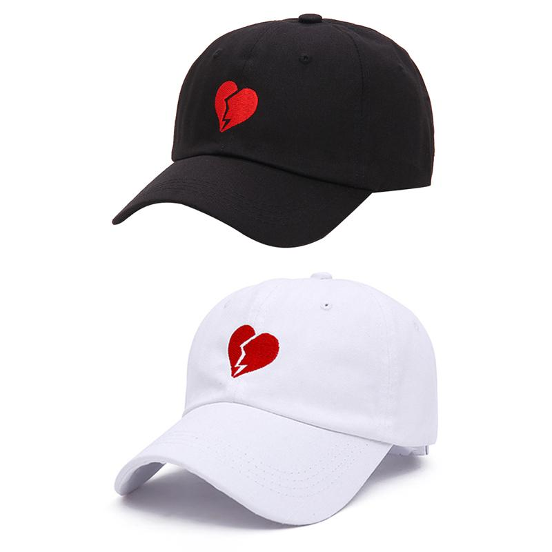 d829c4fc17e9 Red Heart Embroidery Men Women Snapback Hat Fashion All-match Couple ...