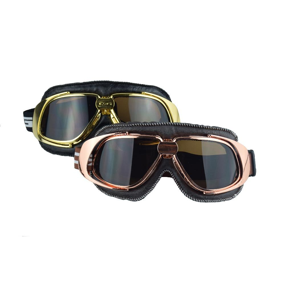 331c154c68 Vintage Helmets Motorcycle Retro Biker Glasses Dirt Bike Safety Protection Goggles  Motocross Cycling Copper Frame Leather Gafas Prescription Motorcycle ...