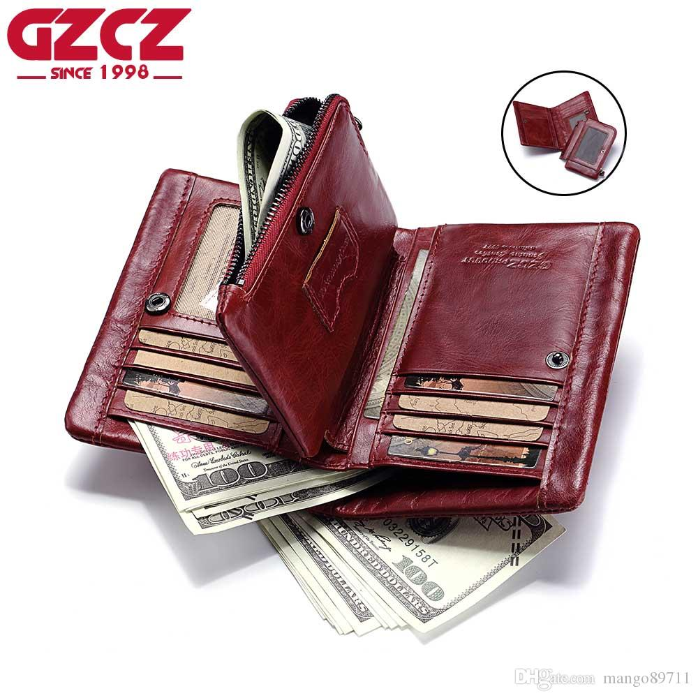 f28c6c65ec0d GZCZ Genuine Leather Wallet Lady Zipper Design Bifold Short Women Clutch  With Card Holder Coin Purse Crazy Horse Red Wallets