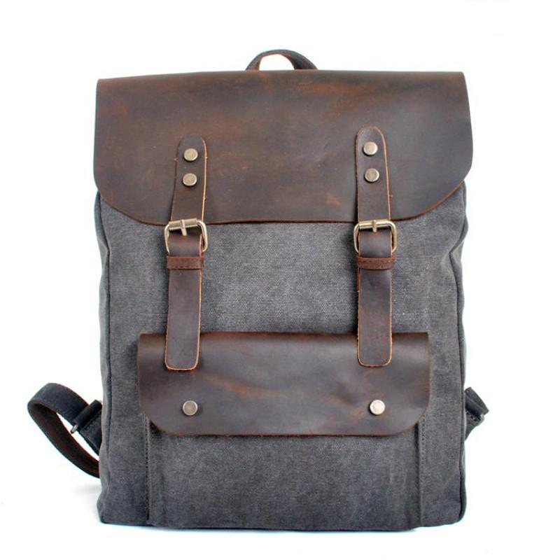 7795efec50 Fashion Backpack Leather Canvas Men Backpack School Bag Military Backpack  Women Rucksack Male Knapsack Bagpack Mochila New 2018 Y1890401 Laptop  Backpacks ...