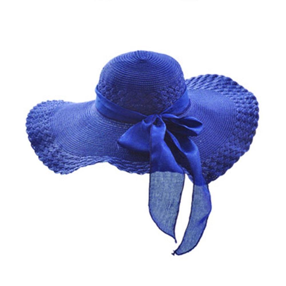 9124b3c953fce8 New Women Summer Round Flat Top Straw Beach Hat Trendy Design Charming  Ladies Bowknot Design Beach Sun Hat Cap Sunscreen