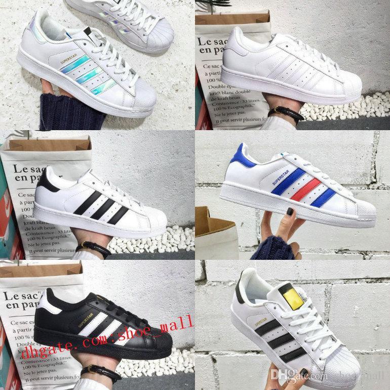 innovative design b7be0 886b1 2018 New Originals Superstars Shoes Black White Gold Hologram Junior Superstars  80s Pride Sneakers Super Star Cheap Women Men Running Shoes Running Shoes  ...