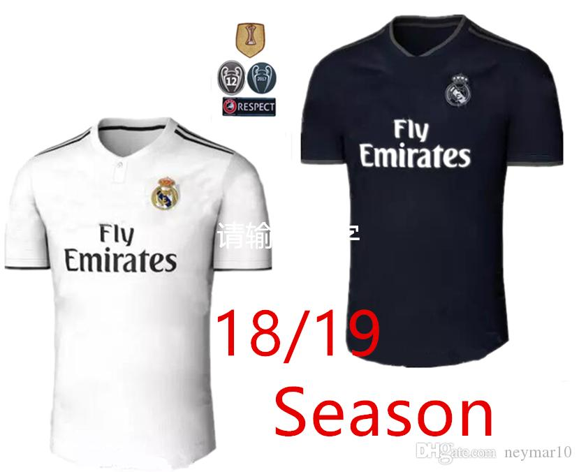 Compre 2018 2019 Real Madrid Camisa De Futebol Ronaldo Modric Kroos Sergio  Ramos Bale 2018 2019 Camisa De Futebol ASENSIO ISCO Uniforme Da Champions  League ... 7bc7b4ee720c8