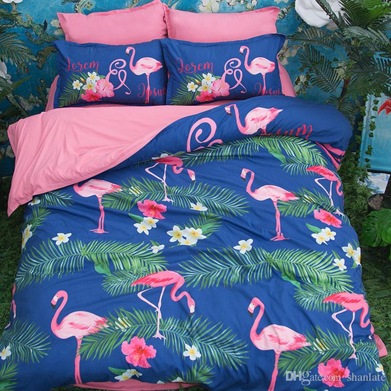 Free shipping beautiful tropical plant flower flamingo pattern bedding set duvet Quilt Cover with 2 pillowcase Twin full Queen King size