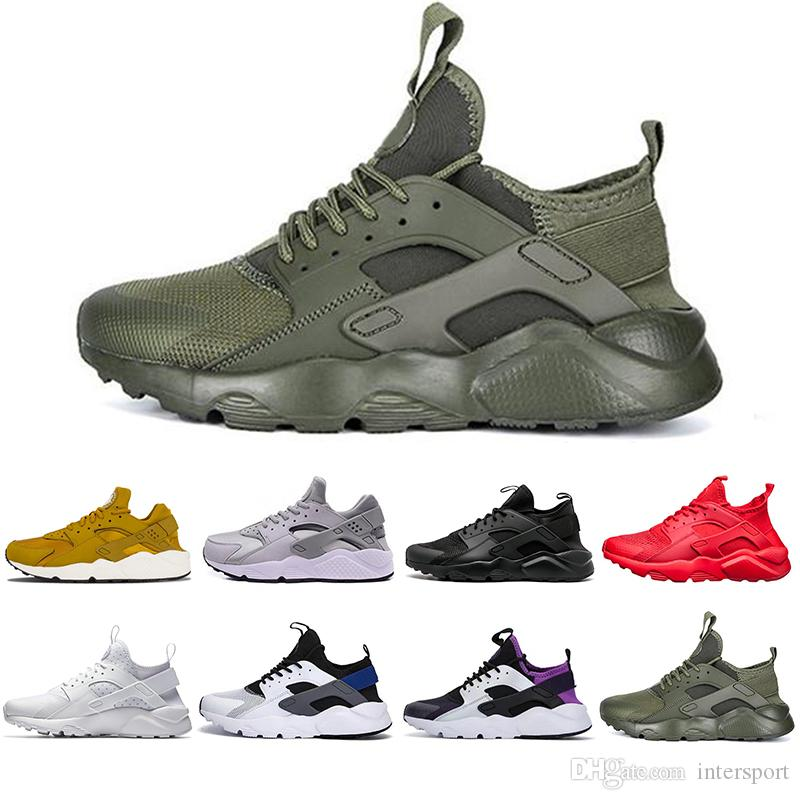 be69f05d0bc3 Newest Huarache 4 IV 1.0 Running Shoes For Men Women Black White Grey High  Quality Sneakers Triple Huaraches Jogging Sports Shoes 36 45 Trail Shoes  Shoes ...