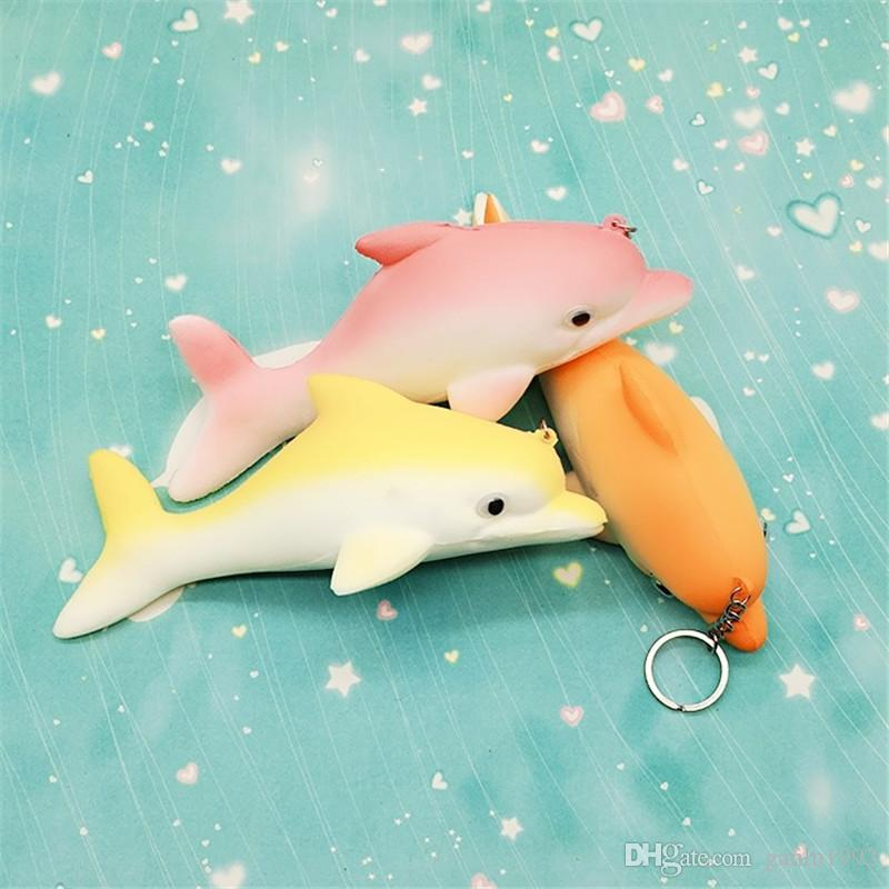 Cute Dolphin Squishy Keys Pendant Animal Shape Squishies Decompression Toys Photography Take Photo Props Multi Color 7 2hb CR