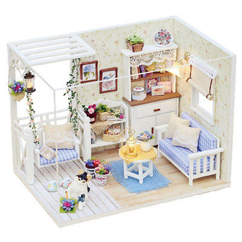 New Doll House Furniture Kits Diy Wood Dollhouse Miniature With Led+ Furniture+Cover Doll House Room Hb Huge Doll Houses Plastic Dollhouse  Furniture Sets ...