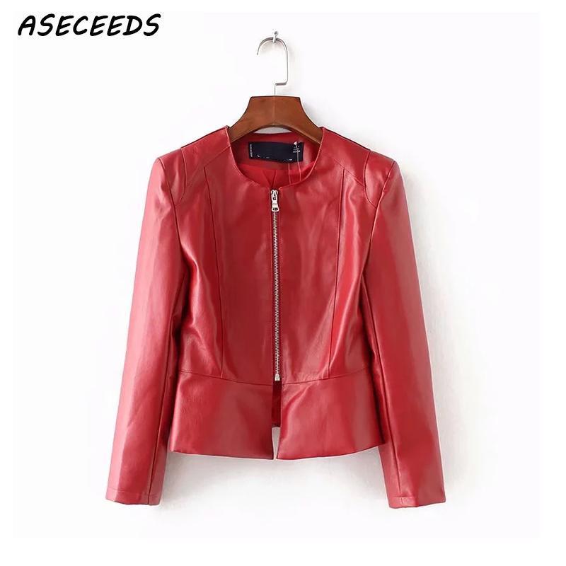 brand new 8e885 6b7c8 Giubbotto in pelle ecopelle rosso autunno da donna Bomber Motorcycle Coat  Streetwear casual da donna basic invernale
