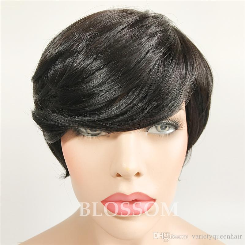 Short Wigs Rihanna Pixie Cut short hair style cuts Brazilian Human Short Bob Wig With Baby Hair Lace Front Wig For Black Women