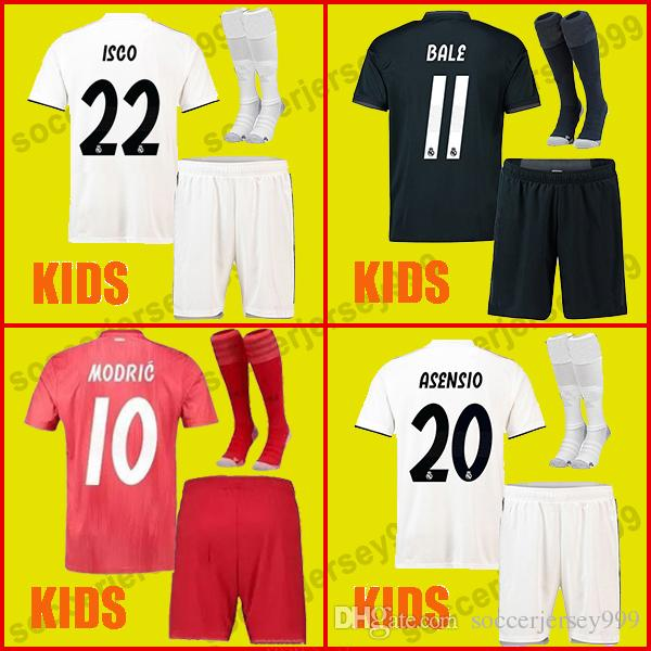 online store 82465 e75fb Real madrid jerseys kids kit 2018 2019 soccer jersey sets MODRIC ASENSIO  VINICIUS JR football shirt uniforms BALE RAMOS 18 19 ISCO camiseta