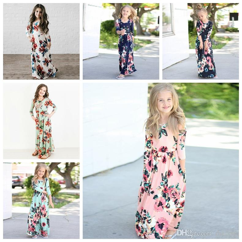 Kids Dresses Children Girls Long Sleeve Floral Princess Dress Spring Girl Beach 2018 floral dresses kids Party Dresses