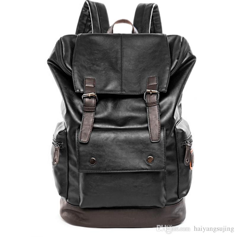 edb04c79a8 2019 Men Splice PU Backpack Huge Shoulder Computer Bag Functional Versatile  Bags Multifunctional Laptop Travel School Backpacking Schoolbag From ...