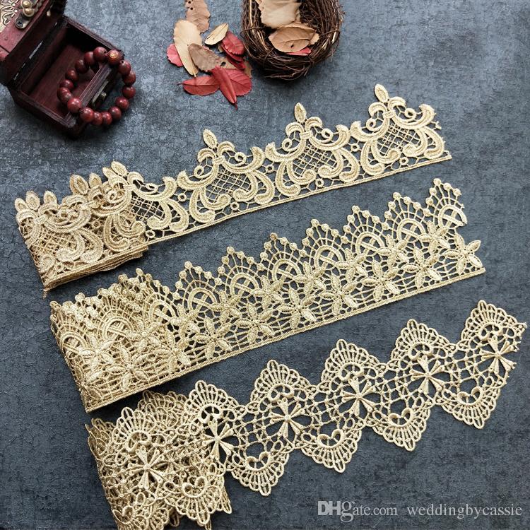 Продажа Ярд Золотая металлическая нить цветок высокого качества вышивка Кружевной Ткани Швейные костюмы DIY Кружевной Отделкой HB11