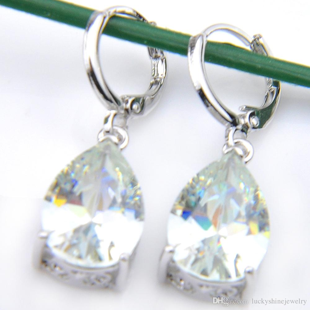 Luckyshine 5 Conjuntos Moda Feminina Brinco Conjuntos de Pingentes de Cristal Topázio Branco CZ 925 Prata Colares Pingentes Brincos Conjuntos de Jóias de Casamento