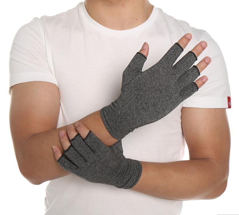 1 Pair Women Men Cotton Therapy Compression Gloves Hand Arthritis Joint Pain Relief Grey Free Shipping
