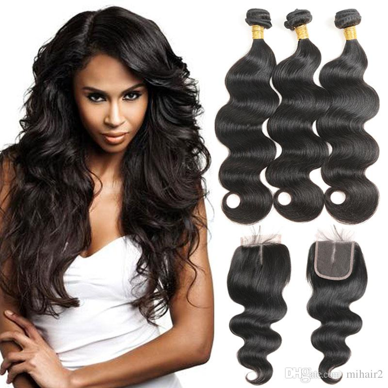 Mongolian Body Wave 100 Human Hair Weave 3 Bundles With 44 Lace