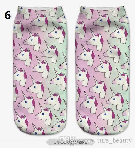 emoji unicorn socks Hot Sale 3d Printed womens socks low cut ankle short funny harajuku ankle socks calzini /