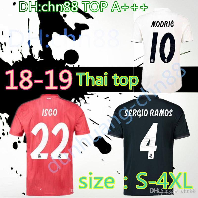 6ecf28559 2019 SIZE XXL 3XL 4XL 2018 2019 Real Madrid Top Quality Home Away Soccer  Jerseys 18 19 ISCO RONALDO MODRIC BALE Arsenio New Font Football Shirts  From Chn88
