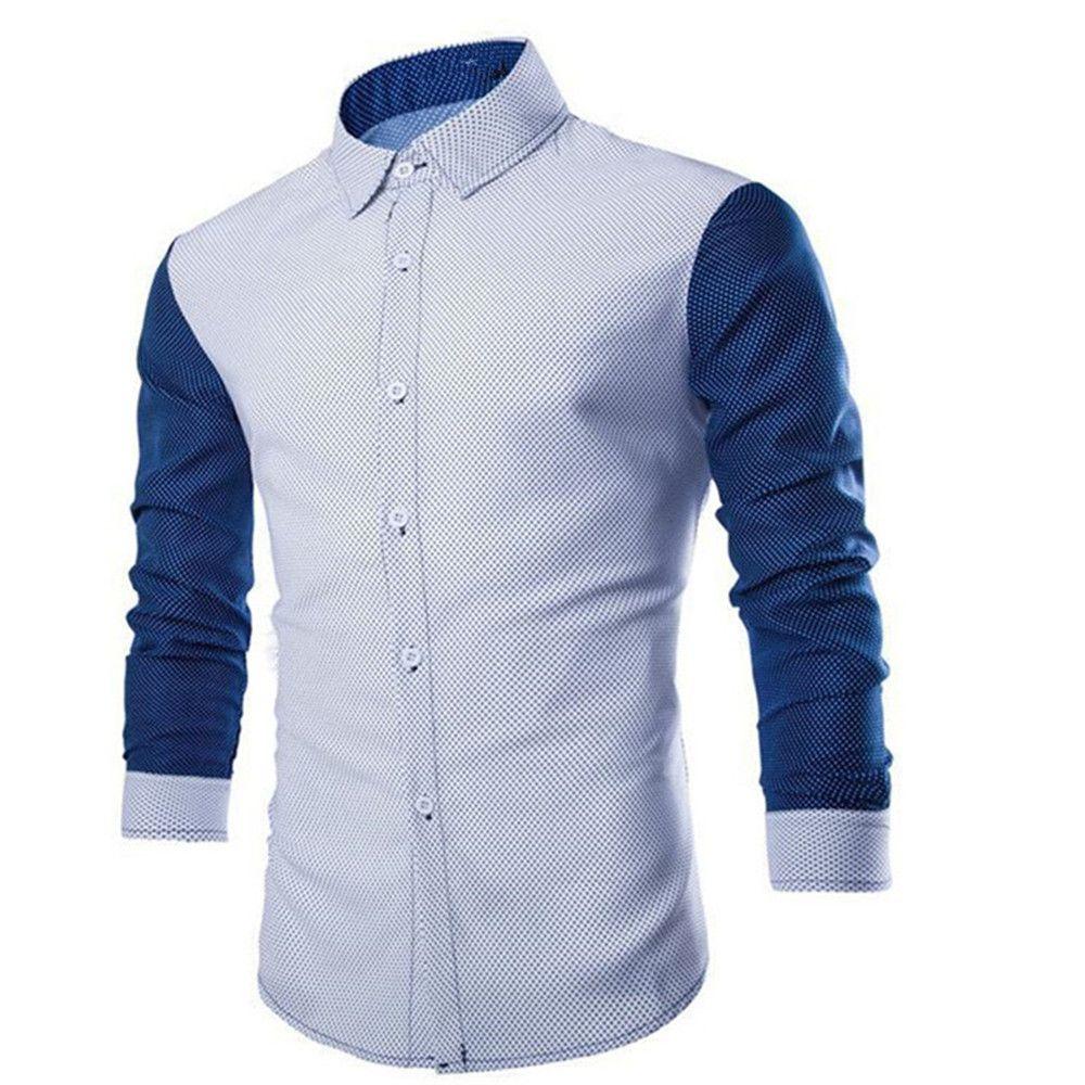 Grosshandel Korean Style Patchwork Hemd Junge Slim Blusa Buro