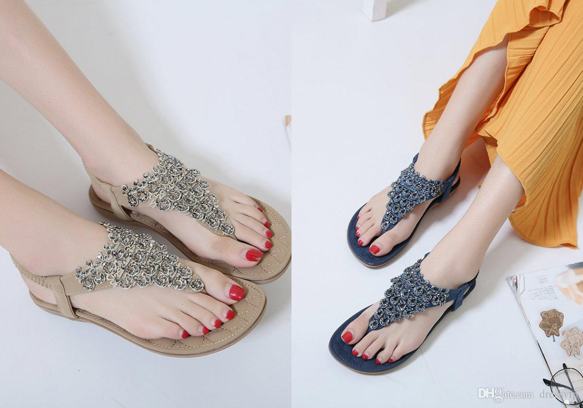 7058b660e2a2 2018 Fashion Beach Wedding Shoes Beaded Crystal Women S Slipper Top Quality  Casual Luxury Shoes Summer Women Plus Size Holiday Shoes Wedding Guest Shoes  ...