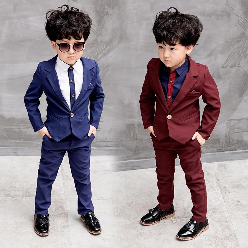 83f4fd04f4 Compre Crianças Terno Do Bebê Meninos Ternos Crianças Blazer Meninos Terno  Formal Para O Casamento Meninos Roupas Definir Jaquetas Blazer + Calças 3  8A De ...