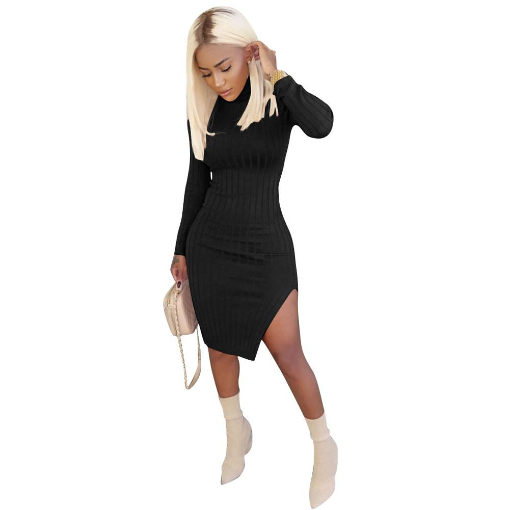 2bb26dd90df0 Sexy Women Ribbed Bodycon Dress Turtle Neck Long Sleeve Sweater Dress  Casual Party Midi Slit Dress 2019 New Fashion Clubwear Chiffon Dresses  Girls Party ...