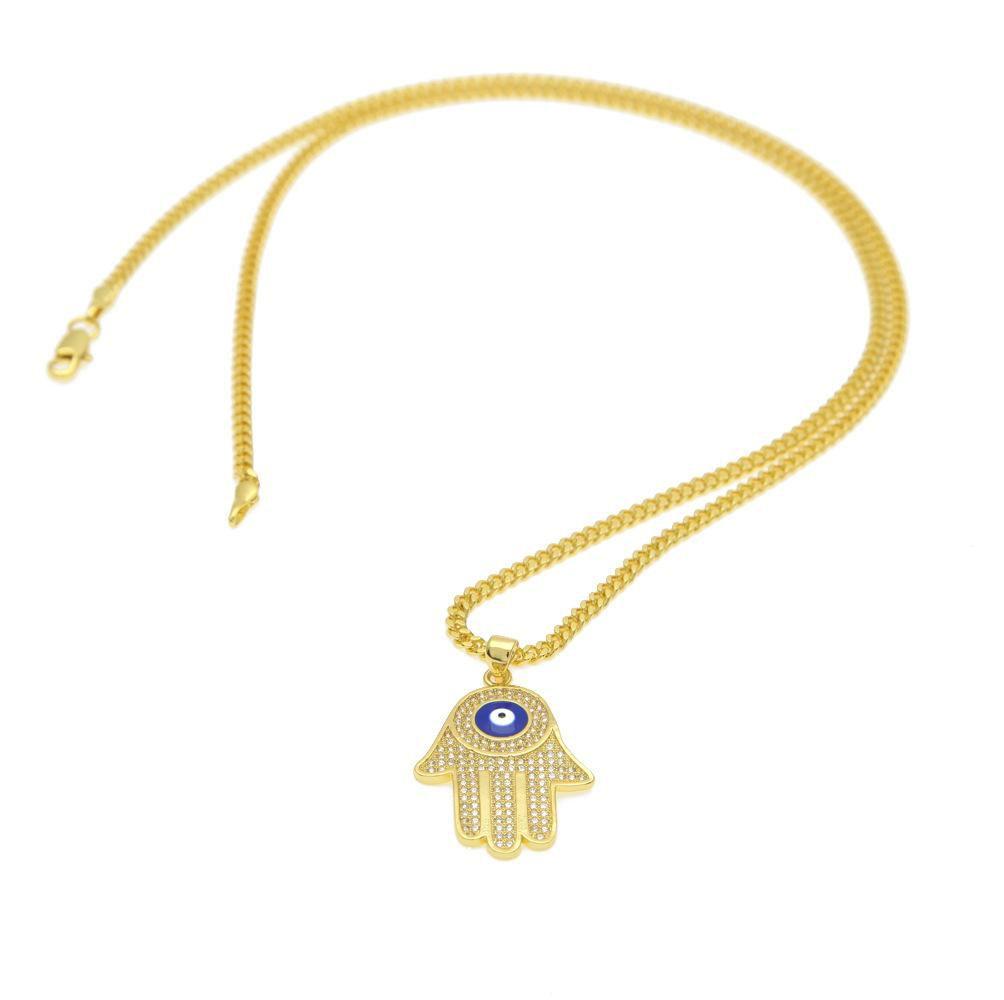 New Blue Evil Eye pendant necklaces Hamsa Hand of Fatima Charm Long Cuban chains For women&men Hip Hop Fashion Jewelry
