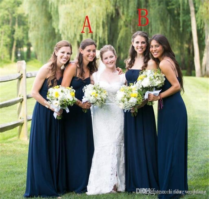 44713d2f88d 2018 High Quality Navy Blue Chiffon Bridesmaid Dress Long Garden Country  Formal Wedding Party Guest Maid Of Honor Gown Plus Size Custom Made Purple  ...