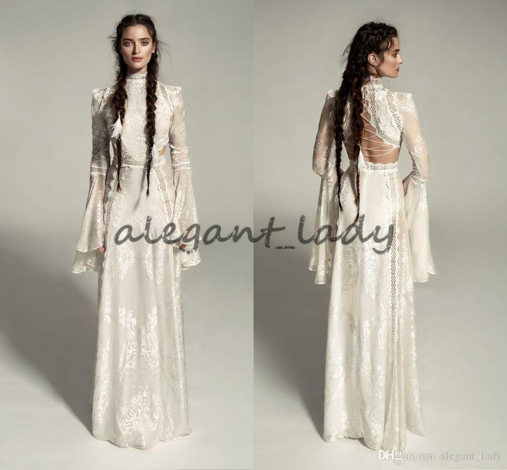 Great 2018 Medieval Wedding Gown Renaissance Bell Sleeve