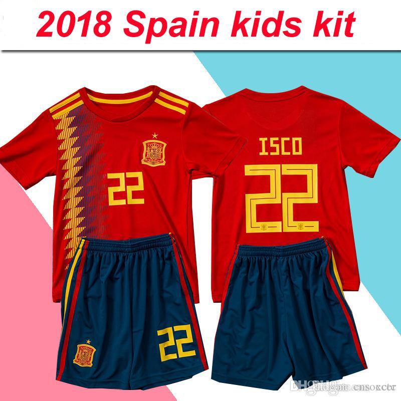 a77945d115c59 Compre Copa Del Mundo 2018 Camiseta De Fútbol De España Niños Camiseta De  Futbol España Kits De Niños Red De Casa Y Lejos Gris 7 Uniformes De Fútbol  MORATA ...