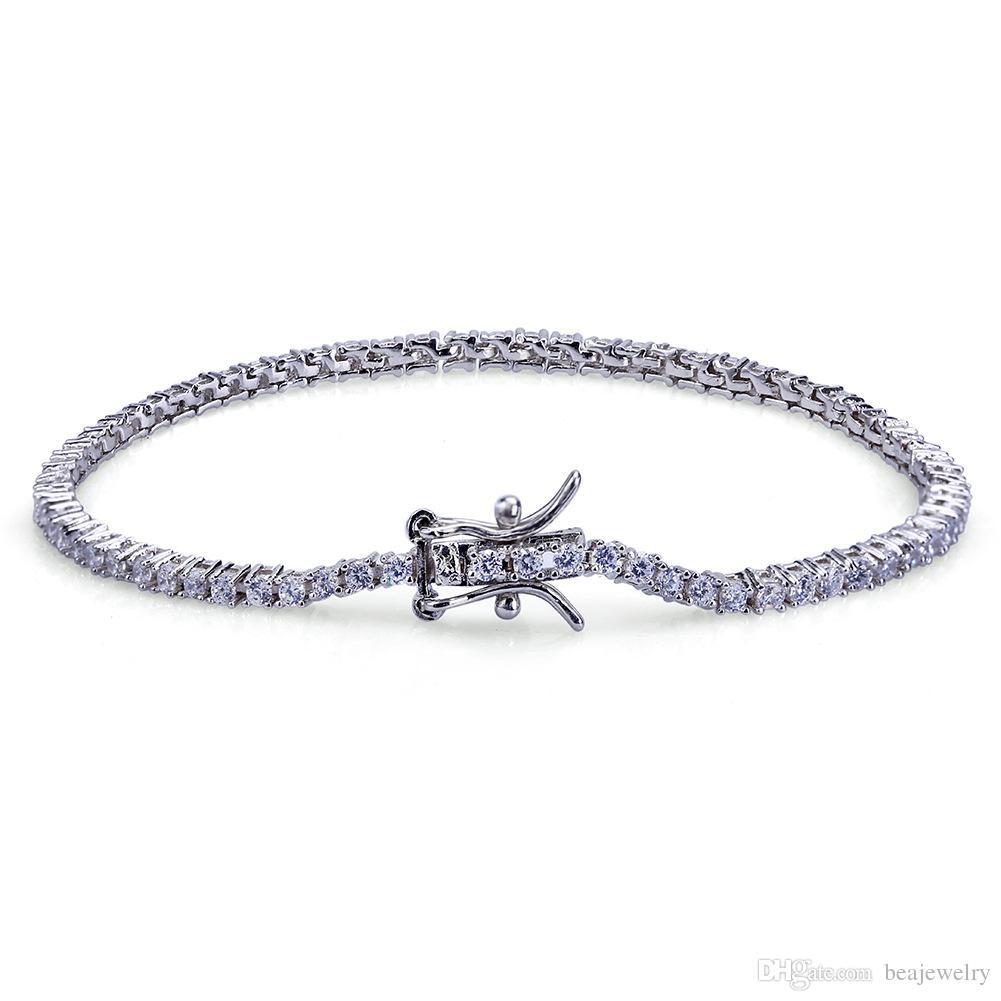 Hip Hop Rock Gold Silver Iced Out 1Row 2mm Tennis CZ Stones Bracelet Men Women Jewelry Bracelets