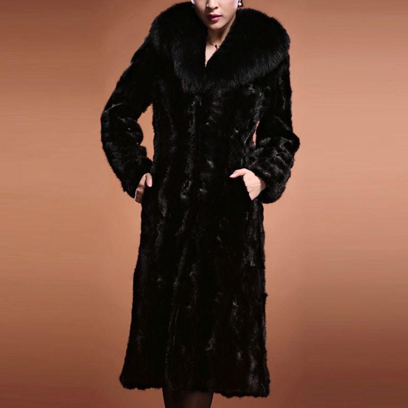 Mulheres de inverno de luxo quente casaco de pele do falso longo-luva de vison cabelo design curto outerwear preto grande gola de pele plus size S-3XL