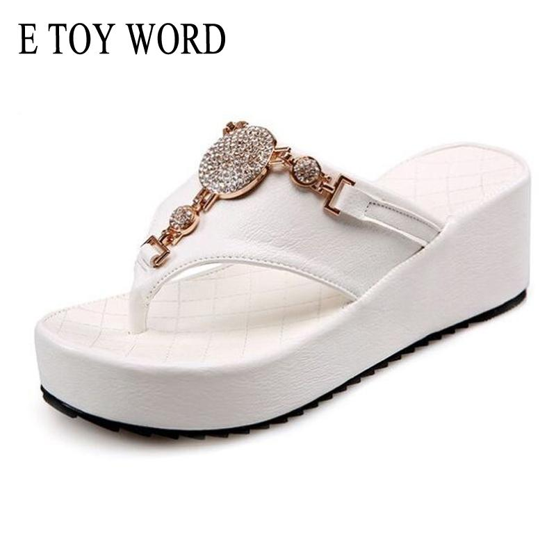 E TOY WORD Flip Flops Women summer Platform Sandals Rhinestone Ladies Shoes Comfortable Beach Slippers White Black Size 35-43