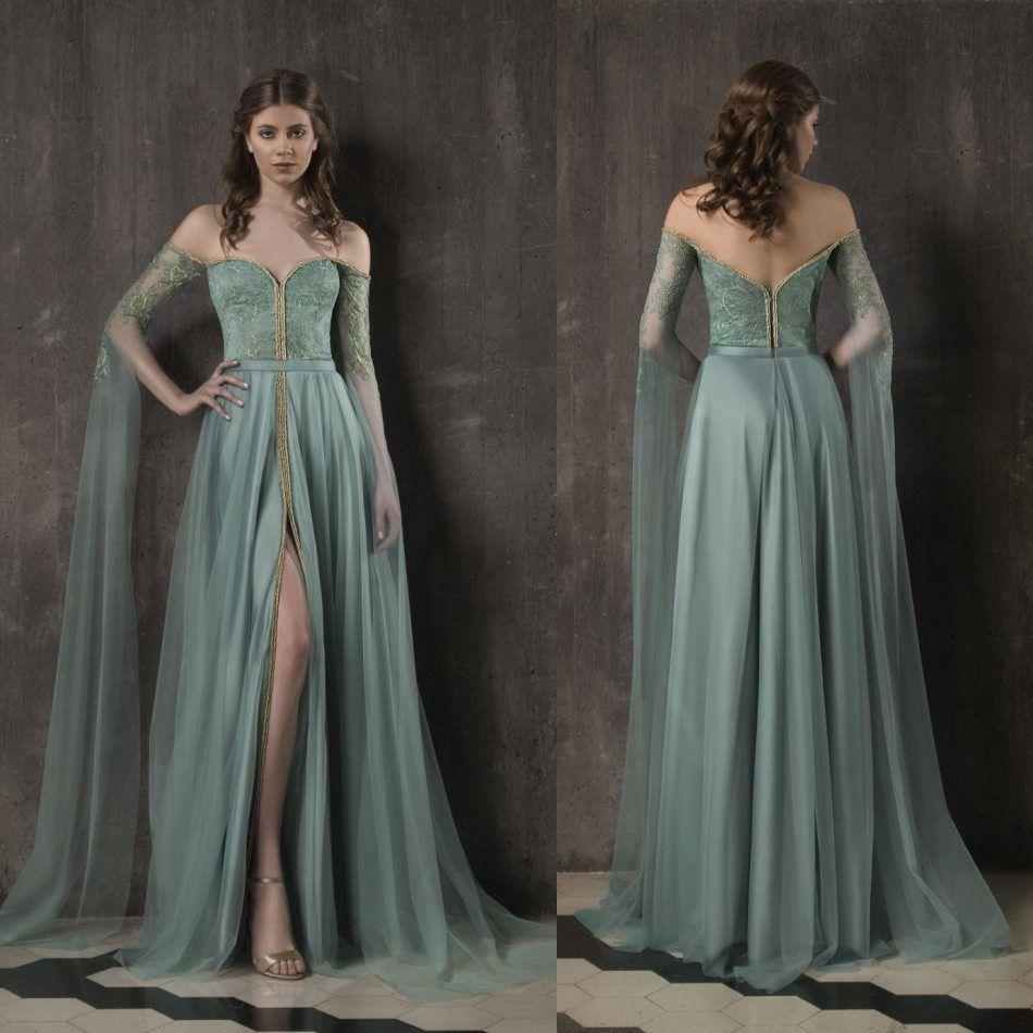 Formal Evening Gowns By Designers: Vintage Designer Prom Dresses 2019 Off Shoulder Long