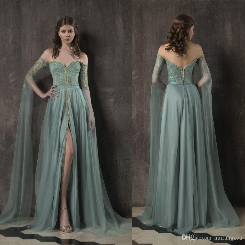 f567aedd473 Vintage Designer Prom Dresses 2019 Off Shoulder Long Sleeves Lace Tulle Evening  Dress Front Split Backless Formal Party Gowns Long Dress Online Long Sleeve  ...
