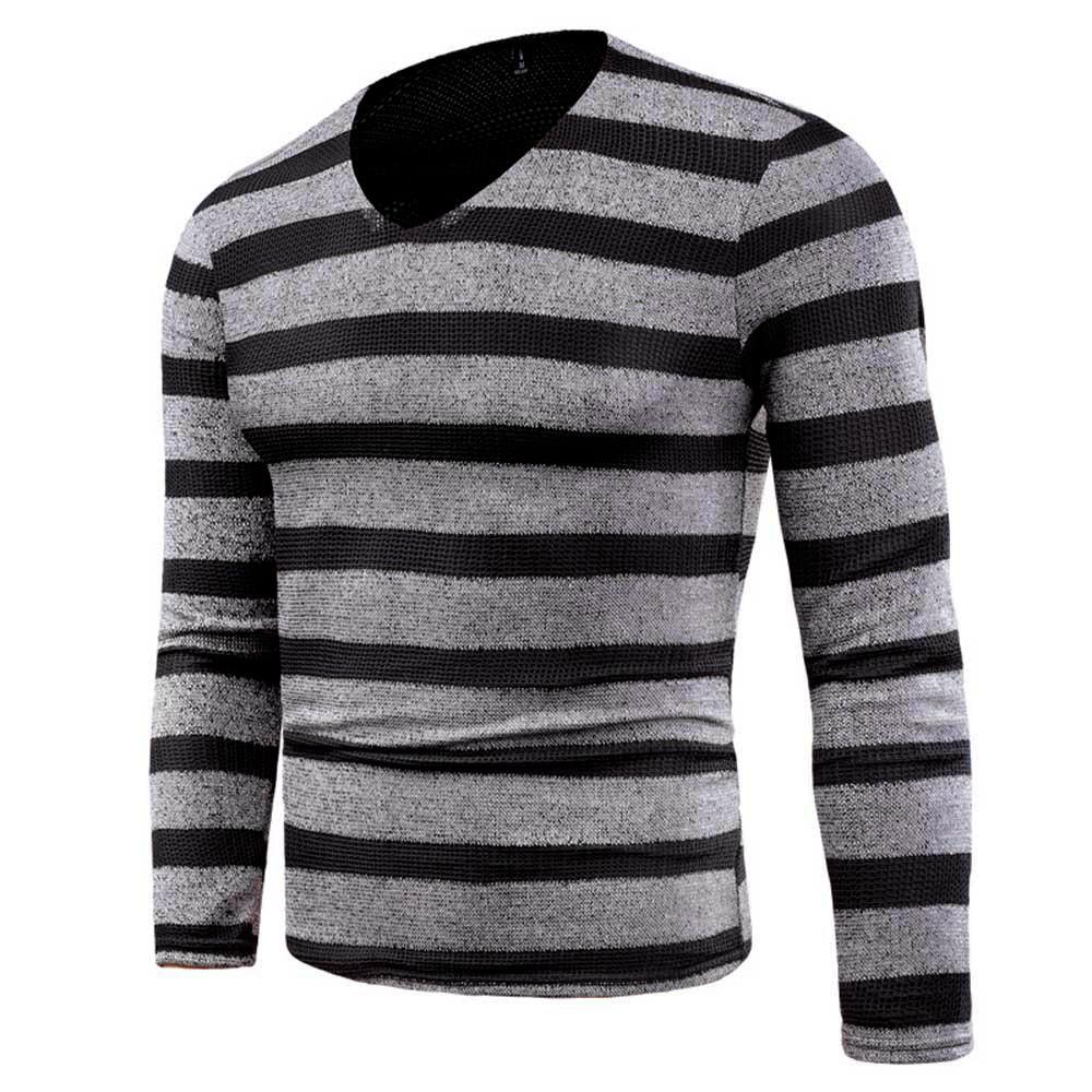 wholesale dealer a426c 7108b FEITONG Herren Pullover Mode Kintted Gestreiftes Hemd Slim Jumper  Strickwaren Outwear Blusa Tops Herbst Winter V-Ausschnitt Pullover Herren