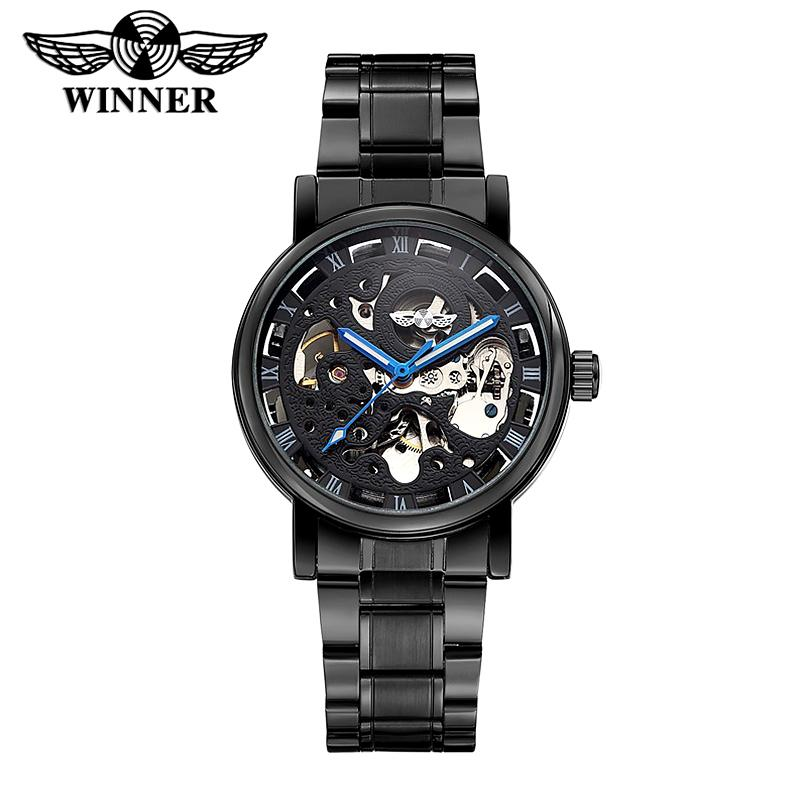c4ea2d41908 WINNER Men S Watches Full Black Stainless Steel Transparent Automatic  Mechanical Watch Skeleton Clock Female Relogio Masculino Cheap Watch Cheap  Watches ...