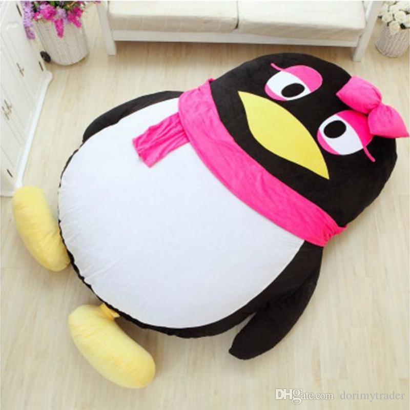 Dorimytrader Kawaii Soft Cartoon QQ Penguin Plush Beanbag Anime Sleeping Bag Leisure Sofa Tatami Lazy Bed Soft Gift 200x150cm