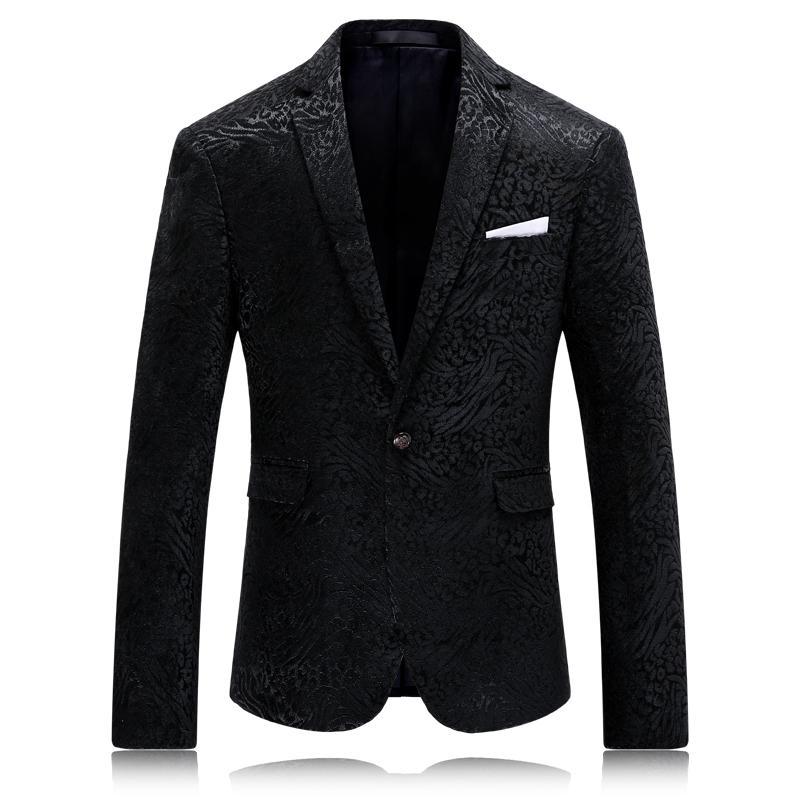 Compre De Alta Calidad De Terciopelo Blazer Hombres Negro Slim Fit Hombres  Casual Blazer Slim Fit Lujo Patrón De Traje De Terciopelo Chaqueta 4xl A   105.37 ... d84ac37f4ac