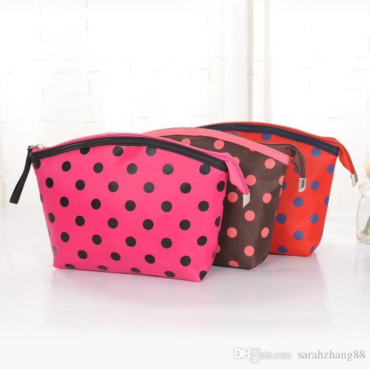Polka Dots Yazdır Kozmetik Tuvalet Kılıfı Çanta - Çok İşlevli Seyahat Organizatör Makyaj Çantası Kadınlar için Fermuar Kapatma ile Çanta Promosyon!