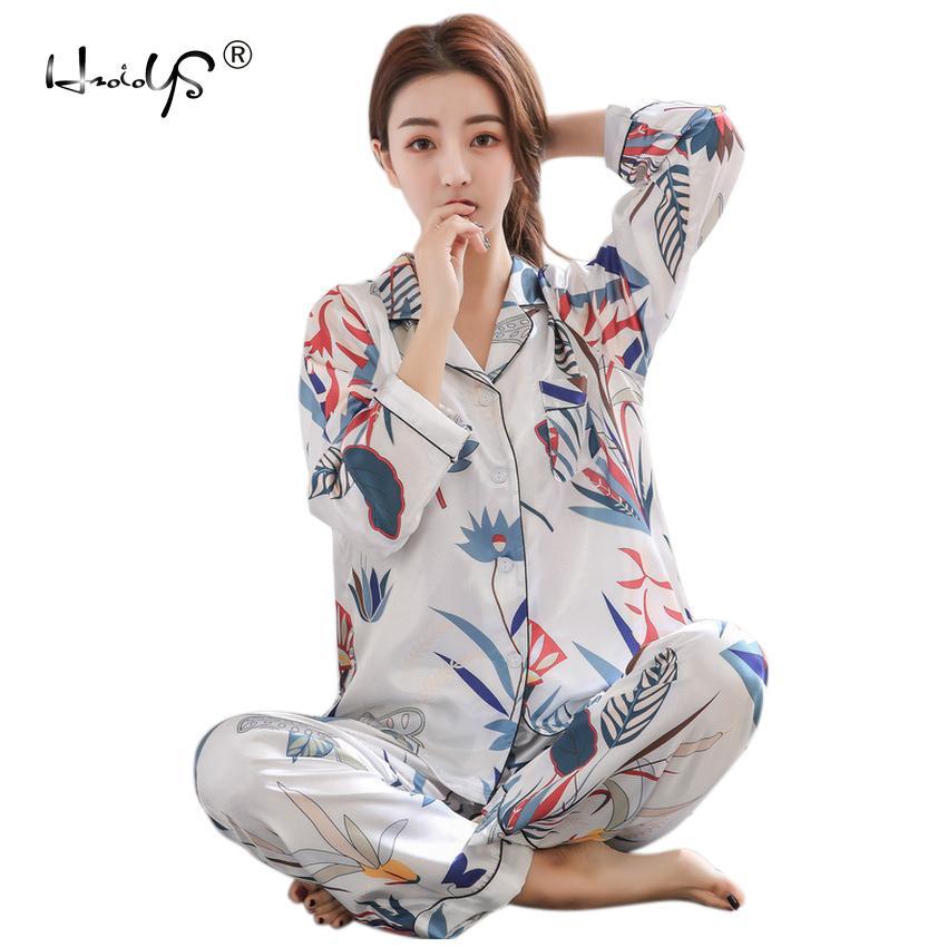 9a27847556 Compre Primavera Otoño Pijamas De Seda De Las Mujeres Conjunto De Invierno  De Las Mujeres Pijama De Seda Pijamas De Manga Larga Conjuntos Camisones  Pijama ...