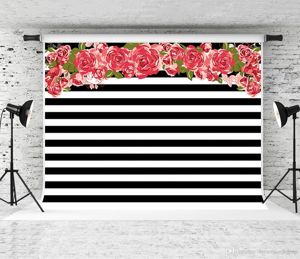 Dream 7x5ft Red Flowers Background Photography Black White Strips