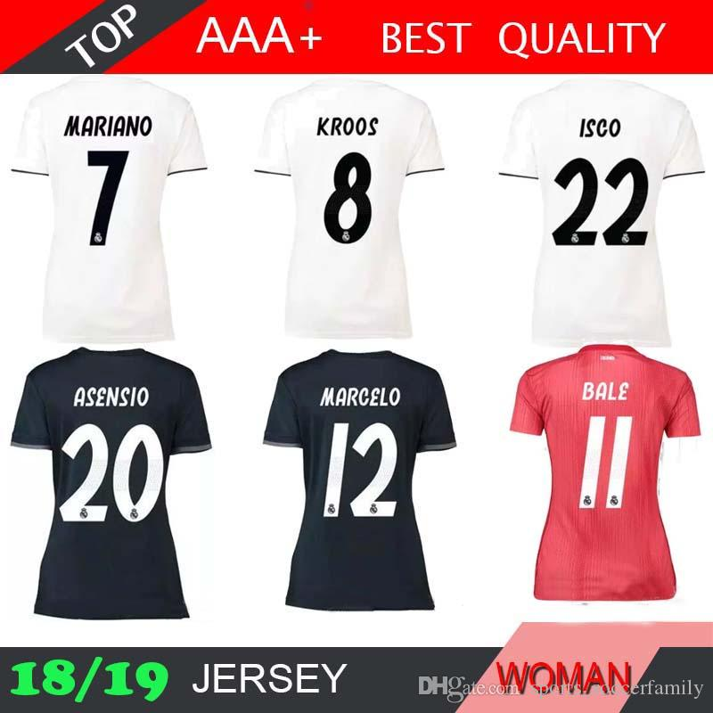 2019 MARIANO BALE Real Madrid Women Home White Soccer Jersey 18 19 MODRIC  ASENSIO ISCO SERGiO RAMOS Soccer Shirt 2018 2019 Football Uniform Red From  ... 797476c8d