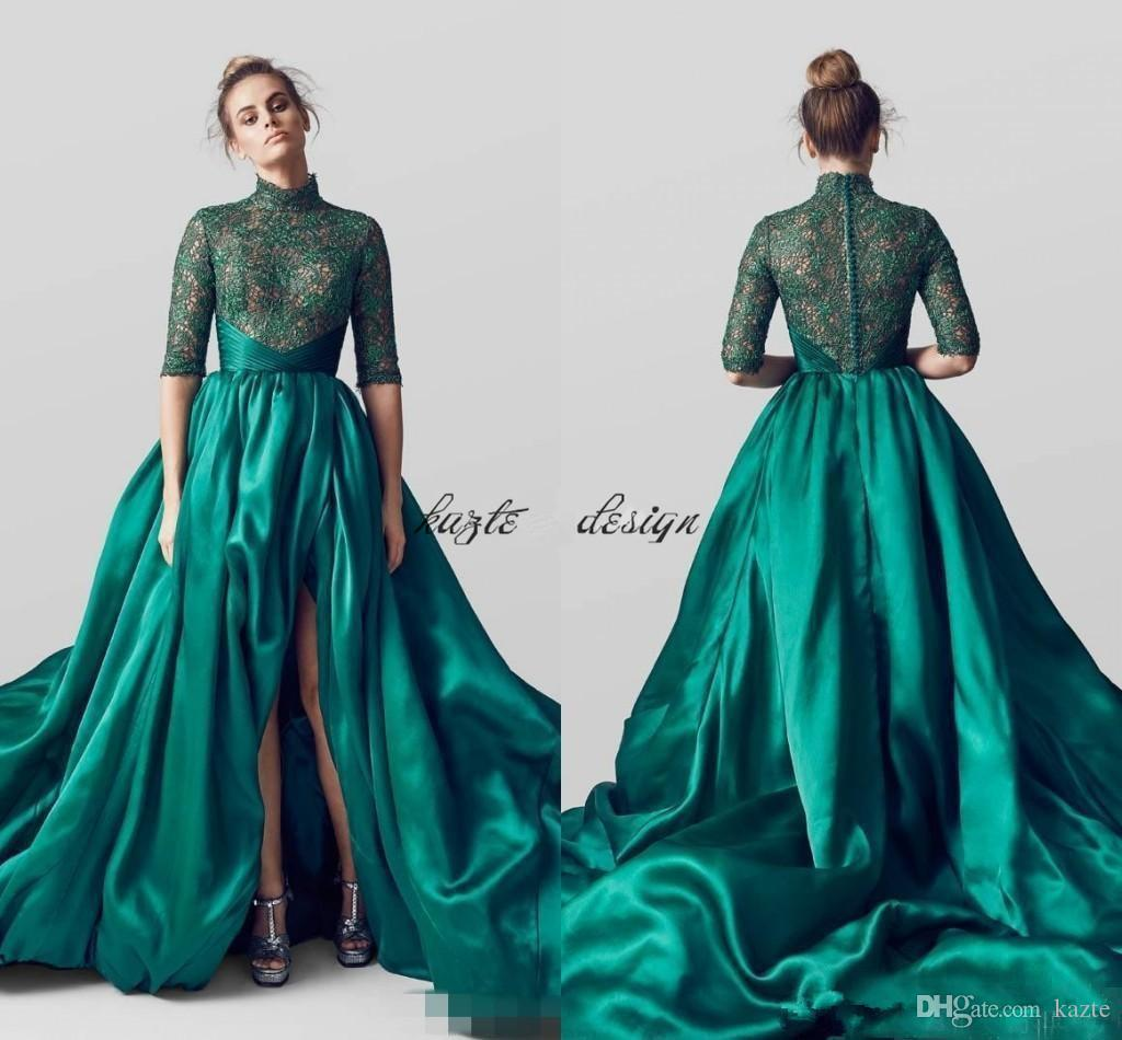 Arabic Emerald Green Evening Dresses 2018 A Line High Neck Satin ...