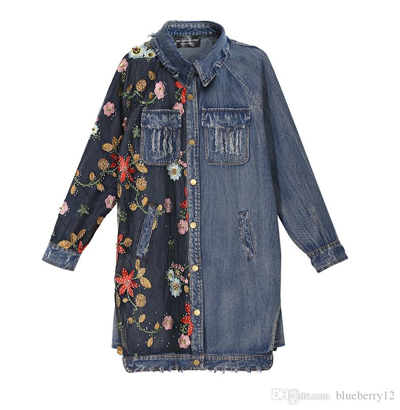 Free Size Women Long Sleeve Dress Fashion Embroidered Floral Panalled Denim Dress Long Blouses Turn Down Neck Shirt Dress for Spring Autumn