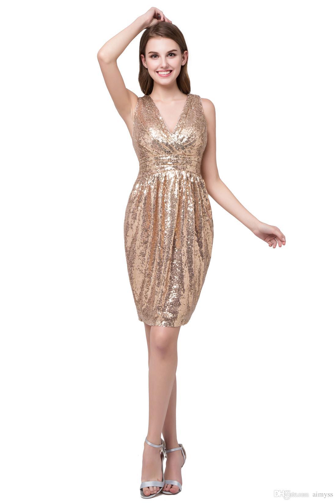 Acheter En Gros Paillettes Pas Cher Courtes Robes De Demoiselle D honneur  Mini V Party Party Dress Sparkle Robe De Cocktail De  75.38 Du Aimyss    Dhgate.Com 6fa12e83aeb5
