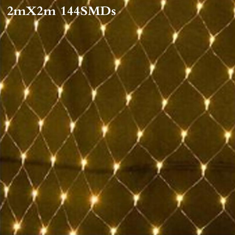 2m x 2m 144 led 8 modes 220v super bright net mesh string light xmas christmas lights new year garden wedding holiday lighting copper string lights paper