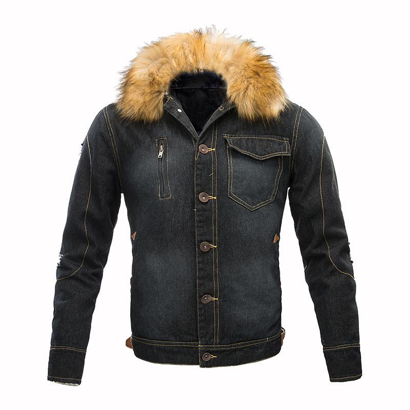 MORUANCLE New Men's Winter Warm Ripped Denim Jacket Fleece Lined Thick Thermal Distressed Jean Jackets And Coats With Fur Collar