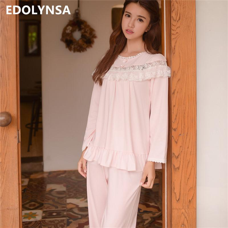 db46c16ea23 2019 Lace Pajama Sets 2018 Long Sleeve Sleepwear Sexy Women Comfortable  Home Wear Vintage Indoor Clothing Pyjamas For Women  L134 From Longmian