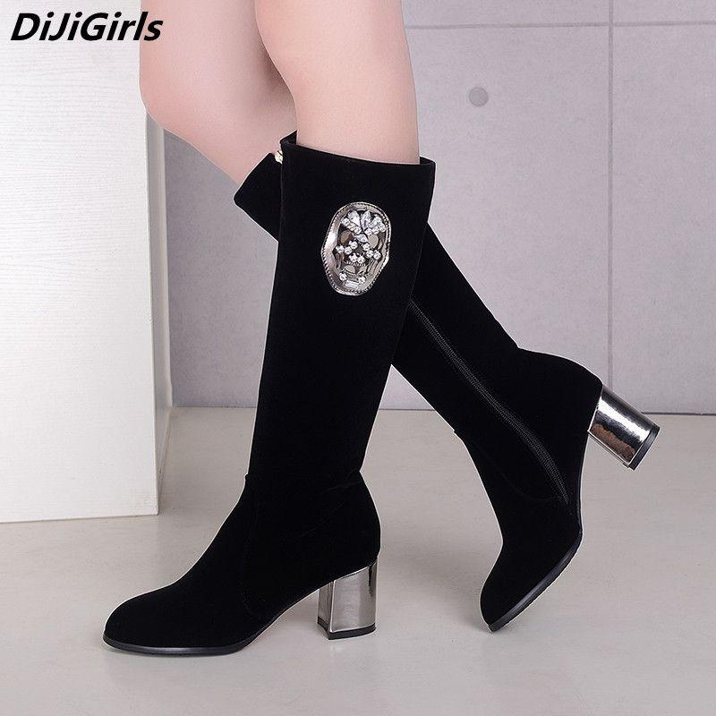 00996b2b Botas de calaveras divertidas para las mujeres Rodilla negra Botas altas  Tacón grueso Tacones altos Otoño Invierno Zapatos para mujer Cremallera